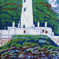 Lismore Lighthouse, Scotland - Original Hand Pressed Linocut Print Ltd Edition