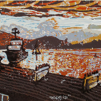 Oban Sunset, Scotland - Original Hand Pressed Reduction Linocut Limited Edition