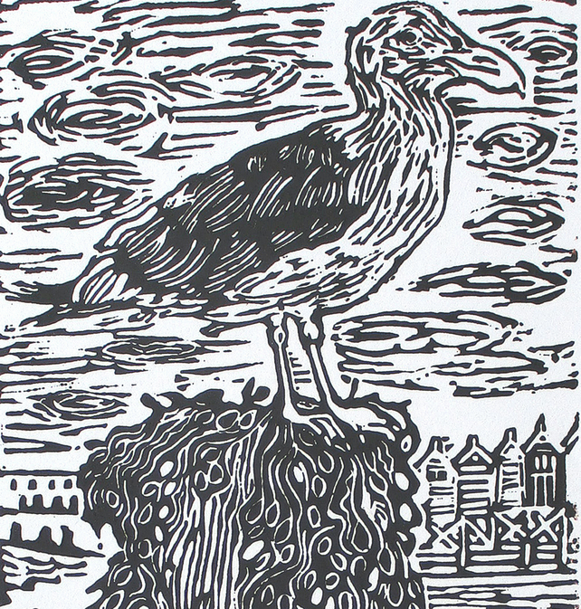 Walton-on-the-Naze Essex Seaside Seagull Original Hand Pressed Linocut Ltd Ed