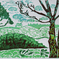 Sutton Hoo Suffolk Original Hand Pressed Linocut Print with Coloured Pencil