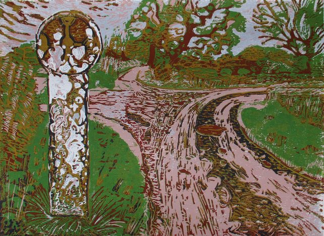 Ancient Cross, Alveley Shropshire Original Hand Pressed Limited Edition Linocut