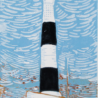 Dungeness New Lighthouse, Kent - Original Hand Pressed Linocut Print on Paper