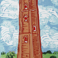 Naze Tower, Essex Original Hand Pressed Linocut Print Ltd Edition