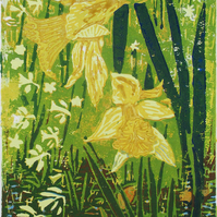 Daffodils, Spring Flowers- Original Hand Pressed Linocut Print Ltd Edit