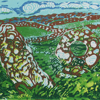 Men-an-Tol, Ancient Cornwall - Original Hand Pressed Linocut Print Ltd Edition