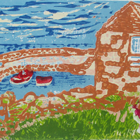 Coverack Harbour Cornwall Original Hand Pressed Linocut Print Ltd Edition