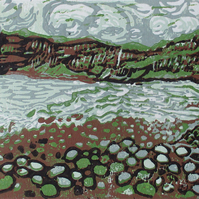 Talisker Bay, Isle of Skye, Scotland - Original Reduction Linocut Print Ltd Ed.