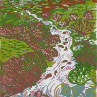 Waterfall, Leitir Fura, Skye - Original Hand Pressed Linocut Print Ltd Edit