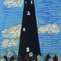 Dungeness Old Lighthouse, Kent - Original Hand Pressed Linocut Print on Paper