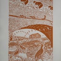 Large limited edition linoprint.  Cyclists, bridges, countryside,