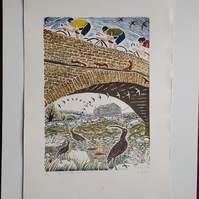 Cycles in the Dales.  Large limited edition full colour linoprint.