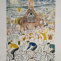 Large unframed limited edition linoprint of cyclists in Le Tour