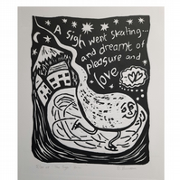 Limited edition linoprint, whimsical winter scene