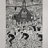 Large monochrome limited edition linoprint of cyclists in Le Tour