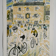 Large limited edition linoprint of cyclists in Le Tour