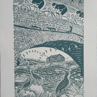 Large limited edition linoprint. Cyclists, Yorkshire