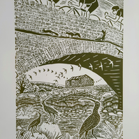 Large limited edition linoprint of Yorkshire Dales