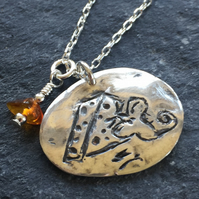 Mouse pendant handmade in fine and sterling silver