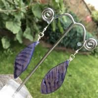 Lavender colour shell and sterling silver drop earrings
