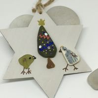 Eco friendly sea glass and wood Christmas tree decoration
