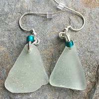 Scottish sea glass and sterling silver earrings