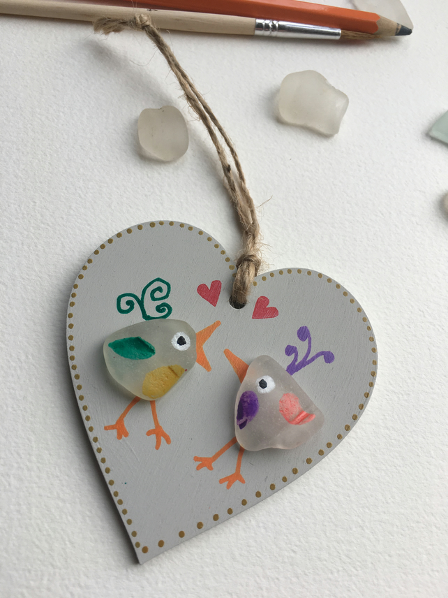 Love birds sea glass and wood hanging