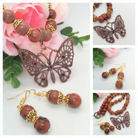 Bronze Butterfly Pendant on a Mahogany Jasper Necklace with Matching Earrings