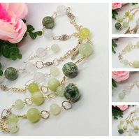 Green Jade and Clear Quartz Jewellery Set with Silver Connectors and Chain