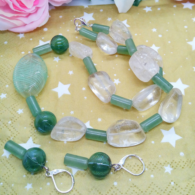 Green Glass  Bead and Quartz Nugget Jewellery Set with Green Puffed Glass Centre