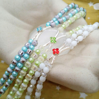 Silver Plated Crystal Centre on a 2 Strand Beaded Band Bracelet, Gift for Her