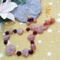Raspberry Quartz and Red Crystal Necklace and Earrings, Jewellery Gift for Her