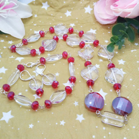 3 Piece Jewellery Set With Red and Clear Faceted Beads and Red Crystals