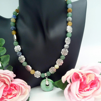 Shiny Green Ceramic Donut Pendant on a Gemstone Beaded Necklace,