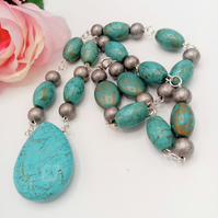 Turquoise and Metal Spacer Beaded Rosary Style Necklace, Gift for Her