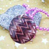 Mauve Chevron Pattern Mother of Pearl Shell Pendant on a Pearl and Bead Necklace