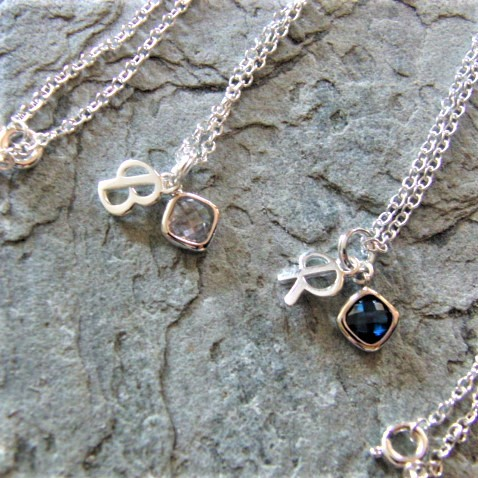 Sterling Silver Birthstone and Initial Necklace, Can be Personalised