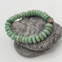 Green Blue Howlite Stretch Beaded Bracelet, Men's Beaded Jewellery