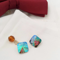 Cuff Links Made With Crystal Paradise Square Swarovski Crystal Buttons