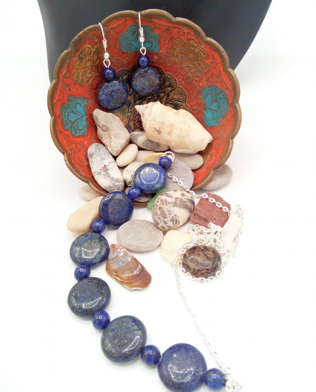 Cobalt Blue Lapis Lazuli Disc Bead and Silver Chain Necklace and Earrings Set