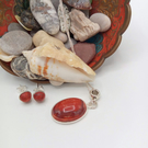 Red Brown Oval Jasper Pendant on a 925 Silver Chain with Matching Stud Earrings