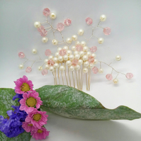 Cream Pearl & Pink Crystal Floral Daisy Beaded Hair Comb, Prom Night Hair Comb