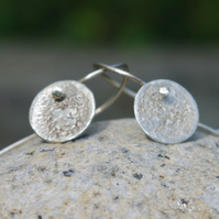 Silver Textured Round Moon Dangle Earrings
