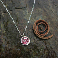 Silver and Copper Spiral Necklace