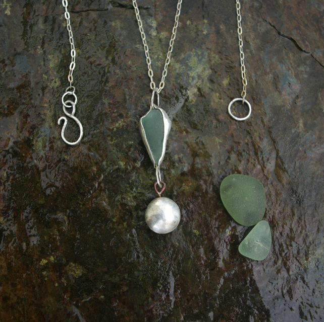 Green Sea Glass and Silver Pebble Statement  Necklace