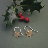 Brass Star Dangle Earrings