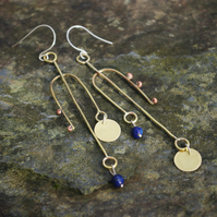 Very Long Brass Mismatched Statement Earrings with Lapis Lazuli Beads