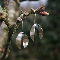 Silver Petals with Green Agate Beads Dangle  Earrings