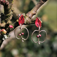 Silver Apple and Copper Leaf Stud Dangle  Earrings