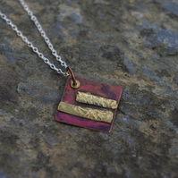 Copper and Reticulated Brass  Necklace