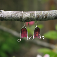 Silver and Copper Bluebell Dangle  Earrings